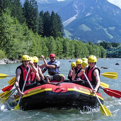 Familien-Rafting auf der Iller
