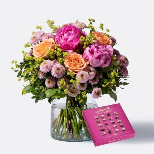 Blumenstrauß Blumenmeer mit Lindt Mini Pralinés