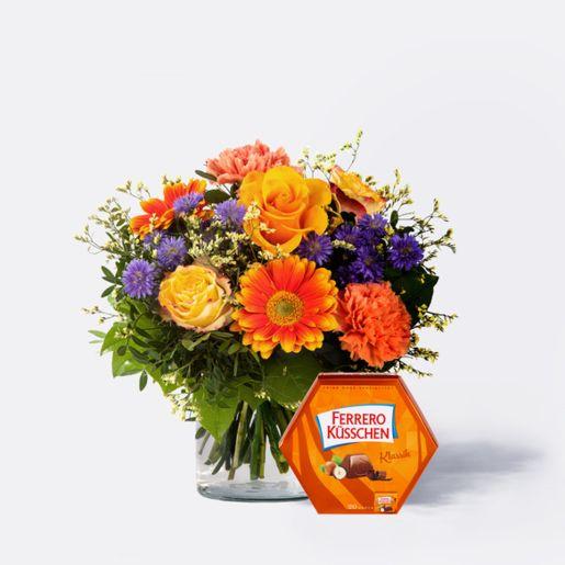 Blumenstrauß Herbstsinfonie mit Ferrero Küsschen