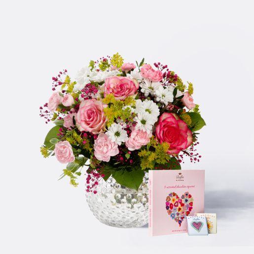 Blumenstrauß Märchenhaft mit 9 gemischten Mini Schokoladentafeln