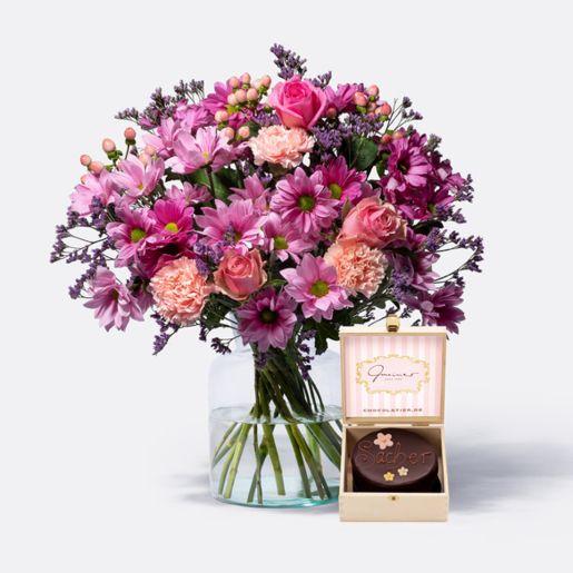 Wiesenstrauß Traumhaft Pink Größe L mit Mini Sachertorte Blumen