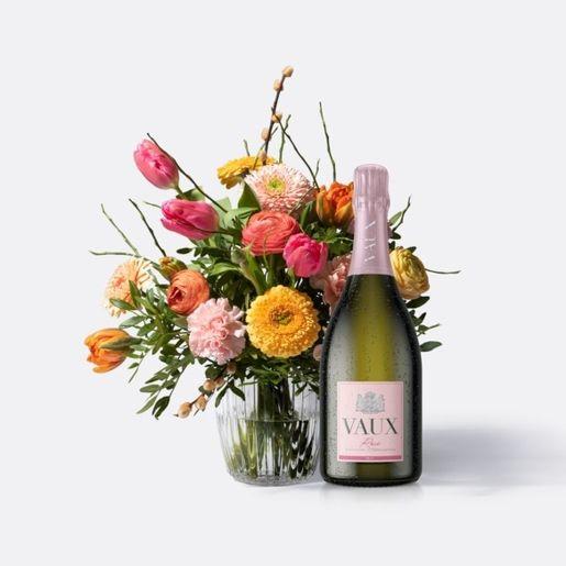 Wiesenstrauß Frühlingstraum mit VAUX Rosé Brut