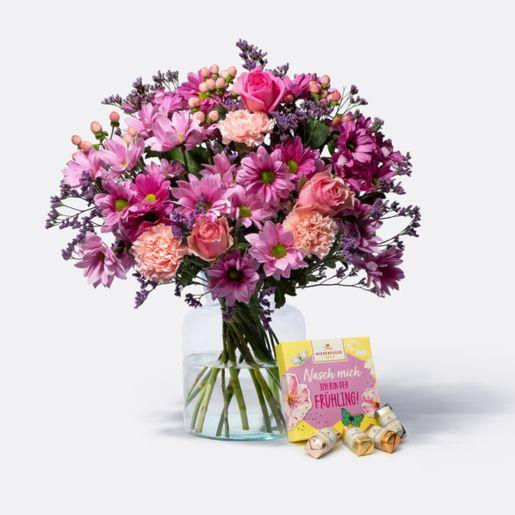 Wiesenstrauß Traumhaft Pink Größe L mit Niederegger Frühlings Mix
