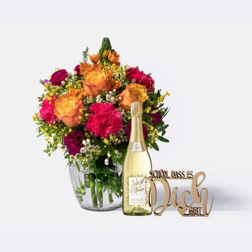 Blumenstrauß Herzlichen Glückwunsch Größe M mit Schriftzug Schön, dass es Dich gibt und Jules Mumm