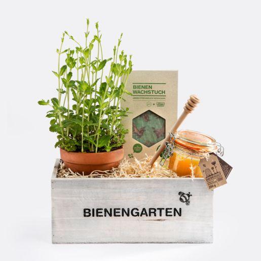 Geschenkset Honiggarten mit Minze, Honig und Bienenwachstuch Set