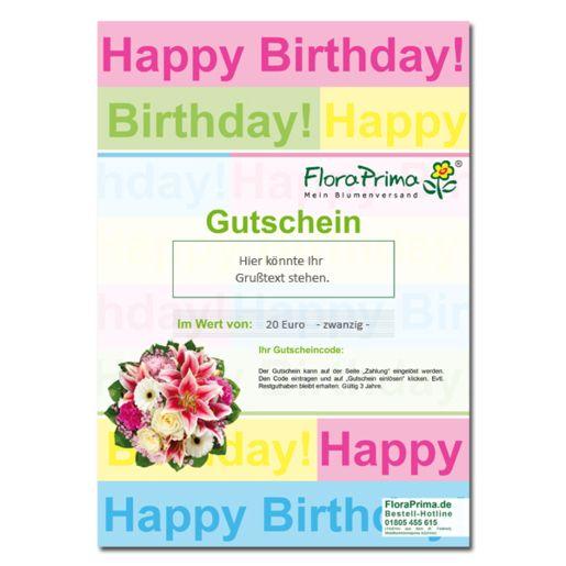 Digitaler Blumengutschein Happy Birthday