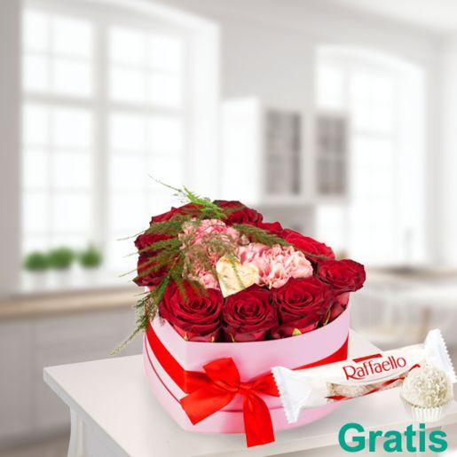 Blütentraum in rosa Herzbox