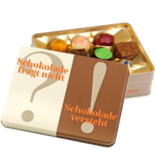 Präsentdose Schokolade fragt nicht