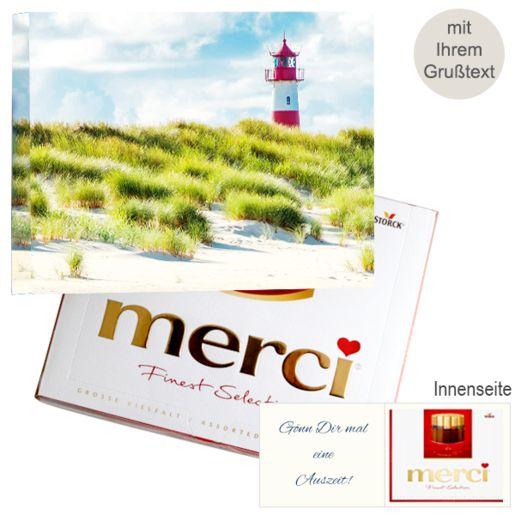 Persönliche Grußkarte mit Merci: Leuchtturm (250g)