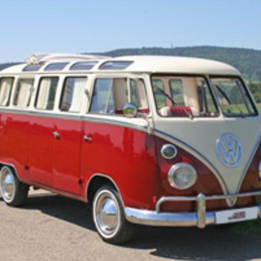 VW Bulli fahren fuer bis zu 8 Personen am Bodensee