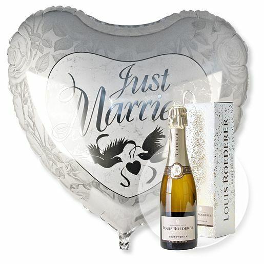 Riesenballon Just Married und Champagner Louis Roederer Brut Premier