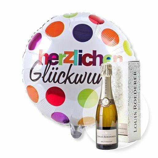 Ballon Herzlichen Glückwunsch und Champagner Louis Roederer Brut Premier
