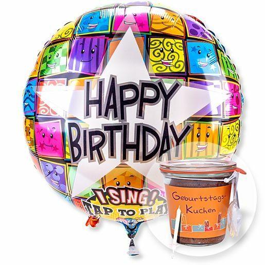 Singender Ballon Happy Birthday Faces und Kuchen im Glas Geburtstag
