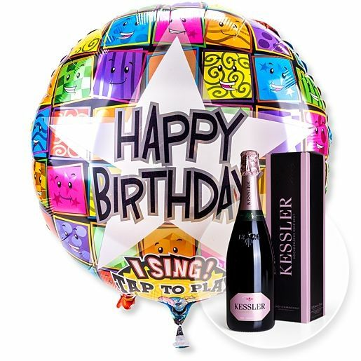Singender Ballon Happy Birthday Faces und Kessler Rose Sekt