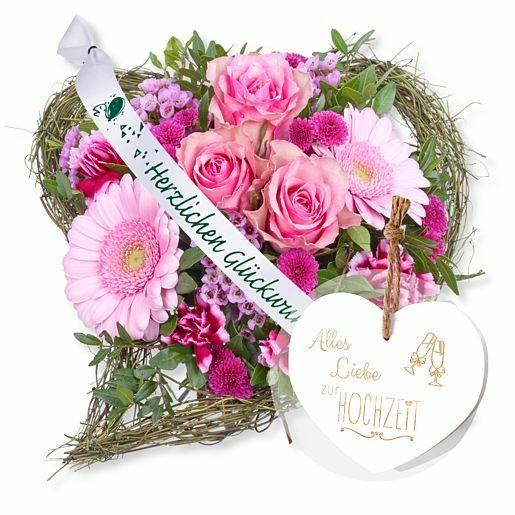Von Herzen und Schleife: Herzlichen Glückwunsch! und Vintage-Herz Alles Liebe zur Hochzeit