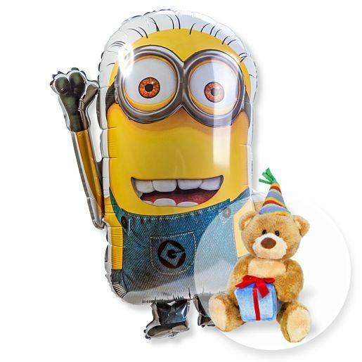 Ballon Minion und Glückwunsch-Teddy