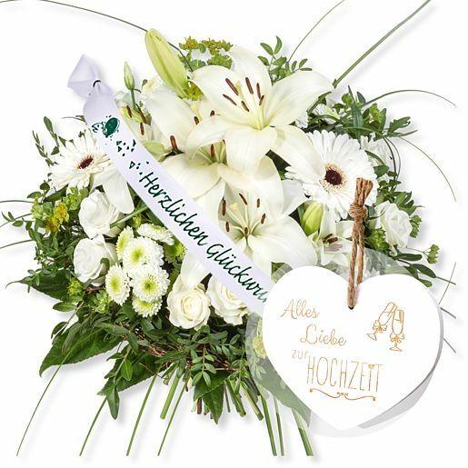 Allegra und Schleife: Herzlichen Glückwunsch! und Vintage-Herz Alles Liebe zur Hochzeit