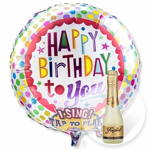 Singender Ballon Happy Birthday to You! und Freixenet Semi Seco
