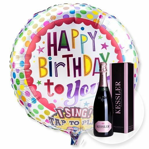 Singender Ballon Happy Birthday to You! und Kessler Rose Sekt