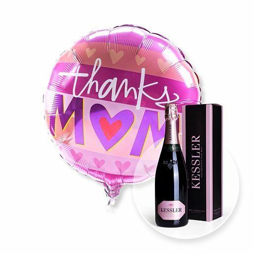 Ballon Thanks Mom und Kessler Rose Sekt