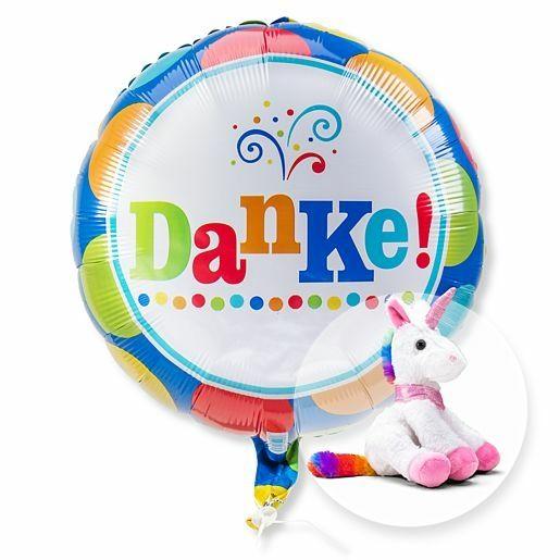 Ballon Danke und Plüsch-Einhorn