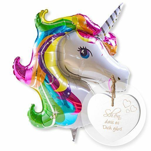 Riesenballon Einhorn Glitter und Vintage-Herz Schön, dass es Dich gibt!
