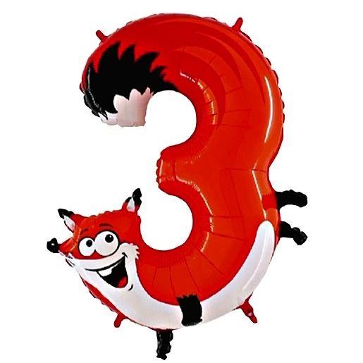 Tierischer Zahlen-Ballon 3 Fuchs