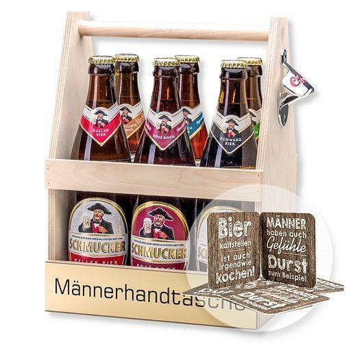 Bierträger Männerhandtasche inklusive Sixpack Bier und Bierdeckel Männergefühle