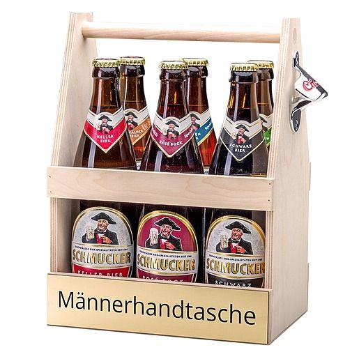Bierträger Männerhandtasche inklusive Sixpack Bier