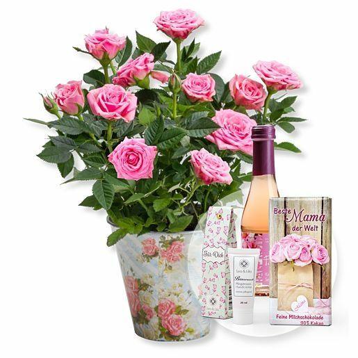 Rosafarbene Rose im romantischen Nostalgie-Topf und Geschenk-Set Beste Mama