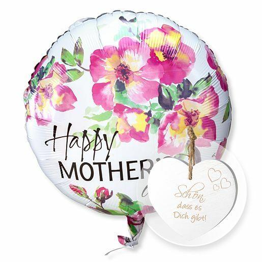 Ballon Happy Mother´s day und Vintage-Herz Schön, dass es Dich gibt!