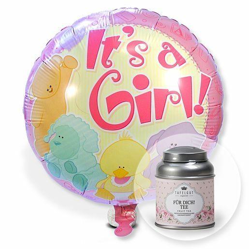 Ballon Babygirl und Tafelgut Für Dich Tee
