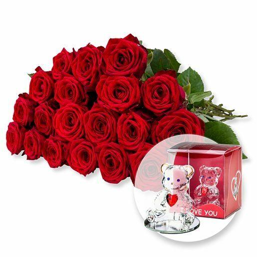 20 langstielige rote Premium-Rosen und Glasbär mit Herz