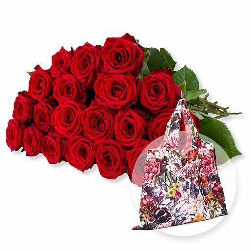 20 langstielige rote Premium-Rosen und Easy Bag XL Blumengruß