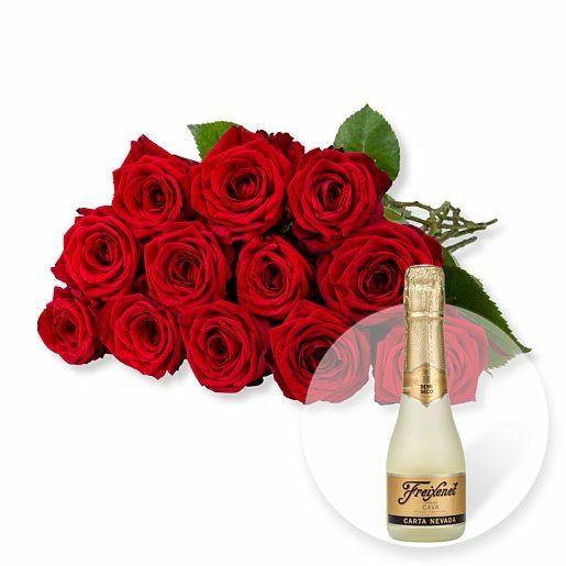 12 langstielige rote Premium-Rosen und Freixenet Semi Seco