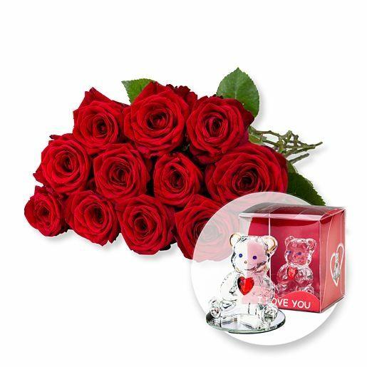 12 langstielige rote Premium-Rosen und Glasbär mit Herz
