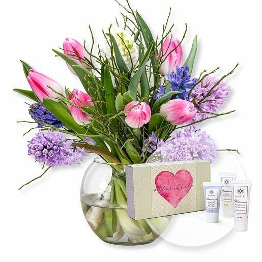 Hyazinthen-Tulpen-Arrangement und Handpflegeset Alles Liebe