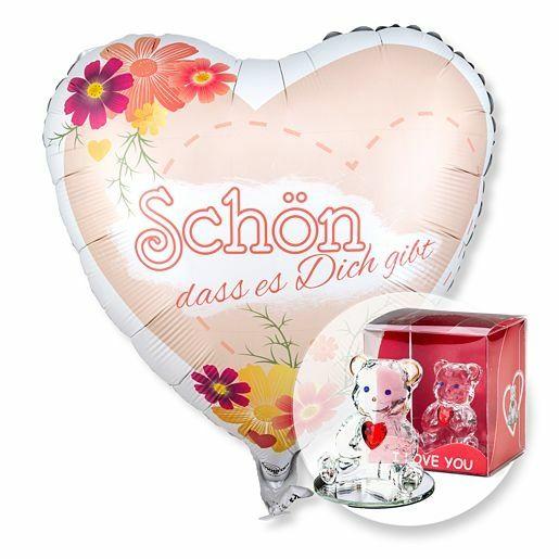 Ballon Schön, dass es dich gibt! und Glasbär mit Herz
