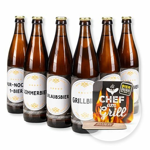 Sixpack Bierparty (6 x 0,5 l) und Bierdeckel Chef am Grill