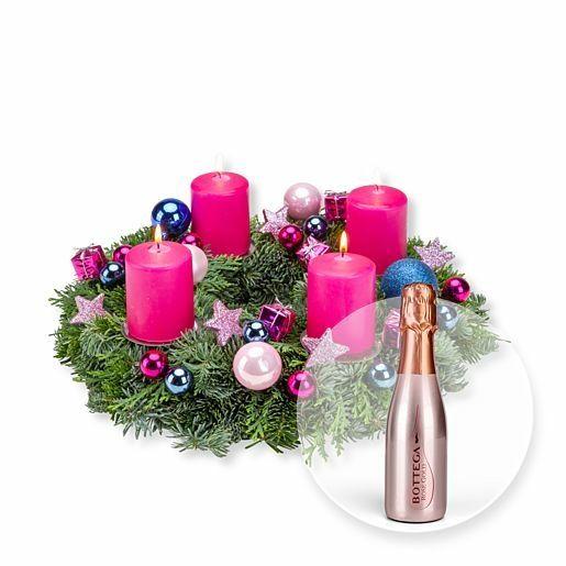 Adventskranz Adventsfunkeln (30cm) und Bottega Rose Vino Spumante Brut