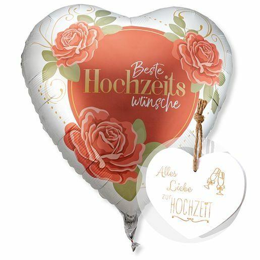 Riesenballon Beste Hochzeitswünsche und Vintage-Herz Alles Liebe zur Hochzeit
