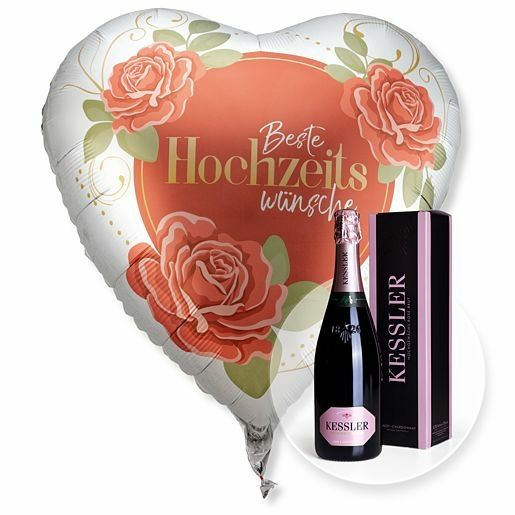Riesenballon Beste Hochzeitswünsche und Kessler Rose Sekt