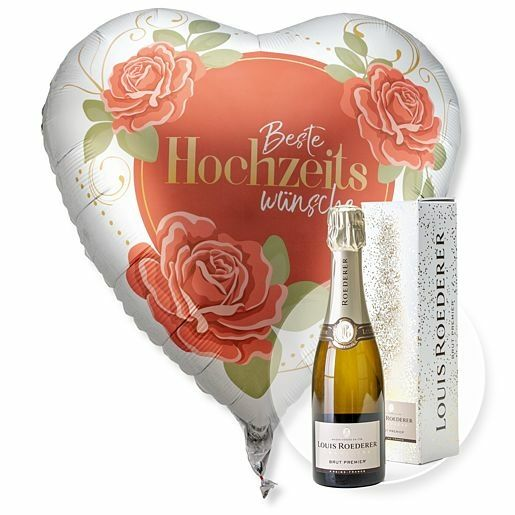 Riesenballon Beste Hochzeitswünsche und Champagner Louis Roederer Brut Premier