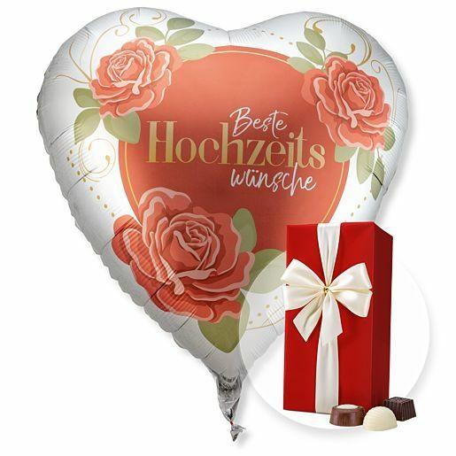 Riesenballon Beste Hochzeitswünsche und Belgische Pralinen