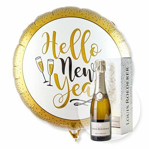 Ballon Hello New Year Glitter und Champagner Louis Roederer Brut Premier
