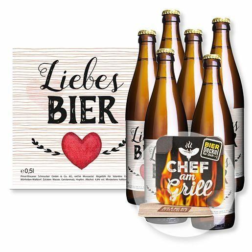 Sixpack Liebes-Bier und Bierdeckel Chef am Grill