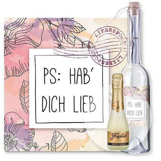 Flaschenpost PS: Hab dich lieb und Freixenet Semi Seco