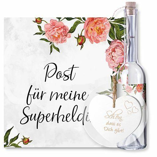 Flaschenpost Superheldin und Vintage-Herz Schön, dass es Dich gibt!