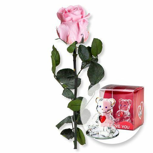 Rosafarbene Infinity-Rose und Glasbär mit Herz