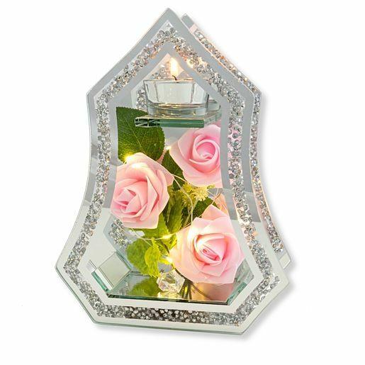 Glas-Spiegel-Windlicht mit Rosen-Deko und LED